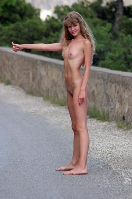 Naked Hitchhiking stunning traveler